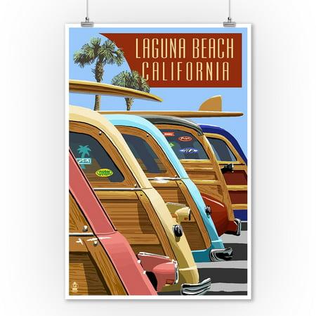 Laguna Beach, California - Woodies Lined Up - Lantern Press Artwork (9x12 Art Print, Wall Decor Travel Poster) ()
