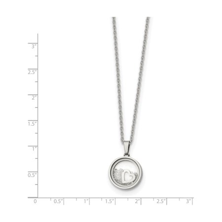 Stainless Steel Black rim Floating Crystal Heart 2in ext 16in Necklace - image 1 de 2
