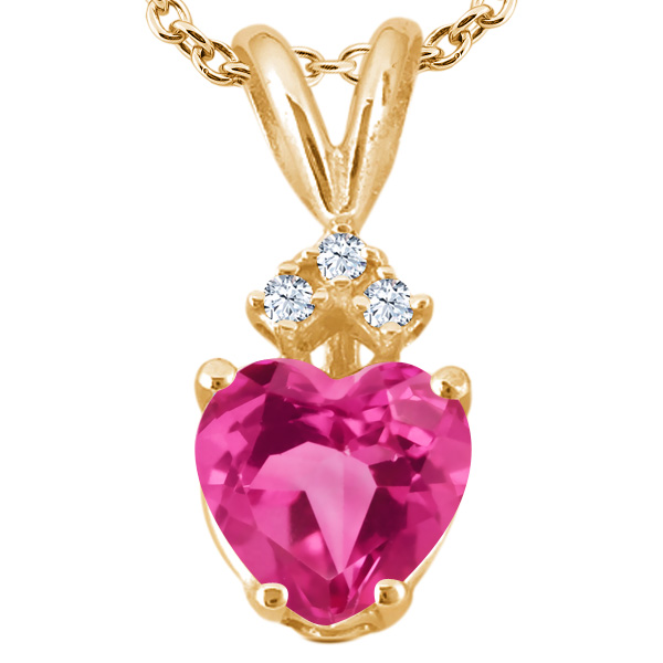 1.64 Ct Heart Shape Pink Created Sapphire White Topaz 18K Yellow Gold Pendant by