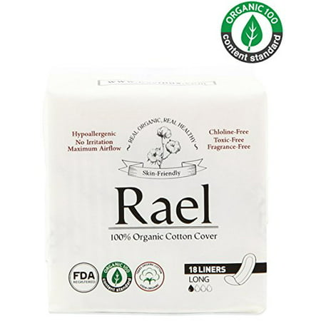 Cotton Pantiliners ((2 Pack) Rael 100% Organic Cotton Panty Liners, Long, 18)