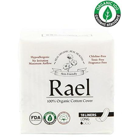 Organic Panty Liners ((2 Pack) Rael 100% Organic Cotton Panty Liners, Long, 18)
