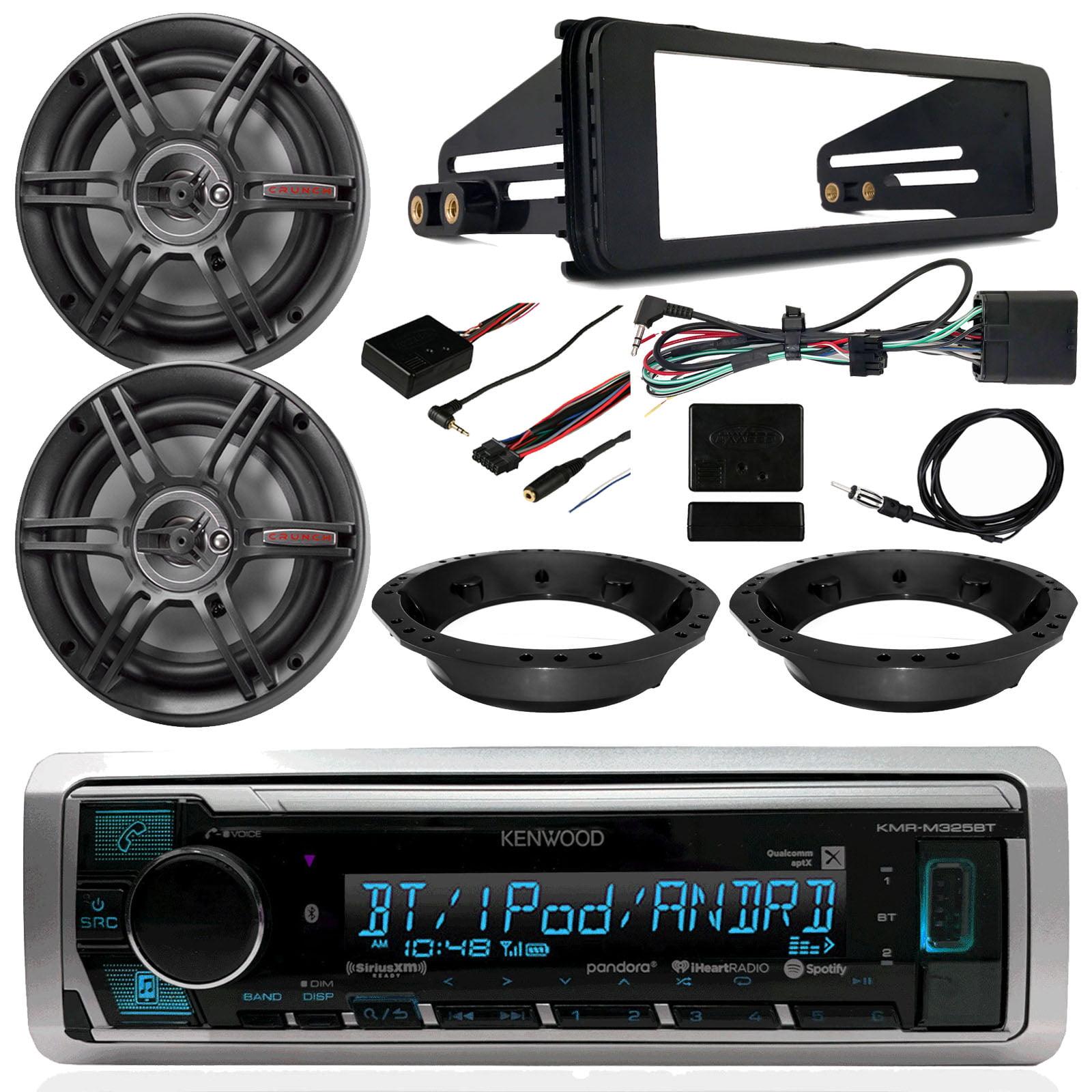 "FLHT FLHTC FLHTCU Touring Radio Package - Kenwood Digital Media Radio, 2x Crunch 3-Way 6.5"" Speakers, Harley Davidson Dash Radio Install Kit, Speaker Adapters, Thumb Control Module, Antenna"
