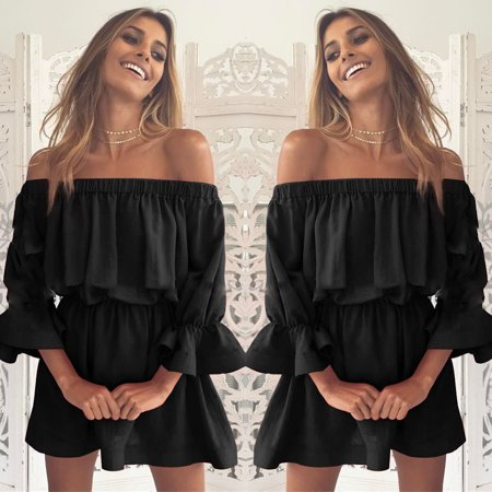 Holiday Womens Bag - Women Flare Sleeve Off Shoulder Holiday Dress Ladies Summer Dress Black/M