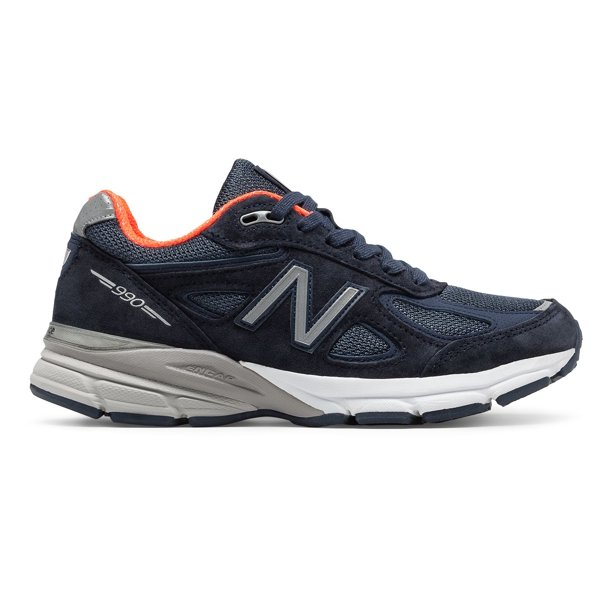 New Balance Women's 990v4 Made in US Shoes Navy with Orange