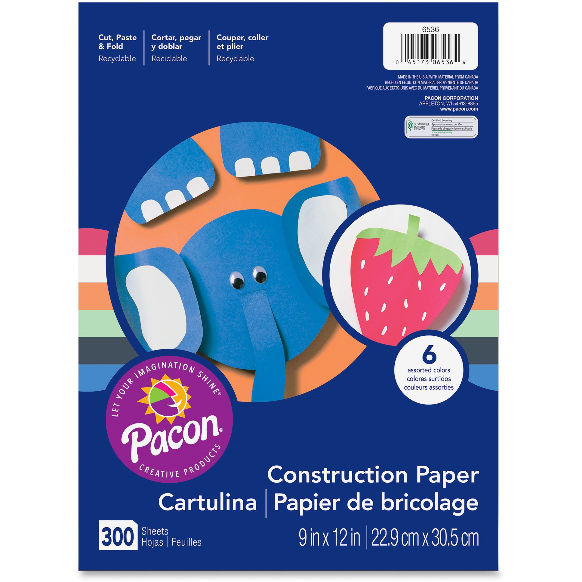 "Pacon® Lightweight Assorted Construction Paper, 9"" x 12"", 300 Sheet, 6 Colors"