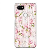 Google Pixel 2 XL Case - Flowers and buds- Baby pink, Hard Plastic Back Cover, Slim Profile Cute Printed Designer Snap on Case with Screen Cleaning Kit