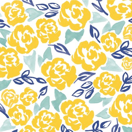"""American Crafts Floral Single-Sided Cardstock 12""""X12""""-Yellow Floral - image 1 de 1"""