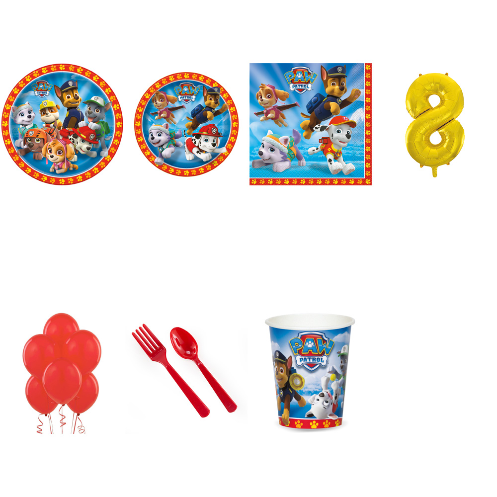 PAW PATROL PARTY SUPPLIES PARTY PACK FOR 32 WITH GOLD #8 BALLOON