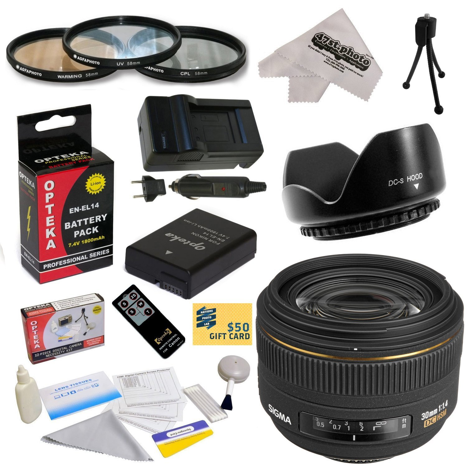 Sigma 30mm f/1.4 EX DC HSM Autofocus Lens for Nikon with 62MM 3 Piece Filter Kit, Hood, EN-EL14, Charger, Remote Control, Cleaning Kit, Mini Tripod, 47stphoto Microfiber Cloth
