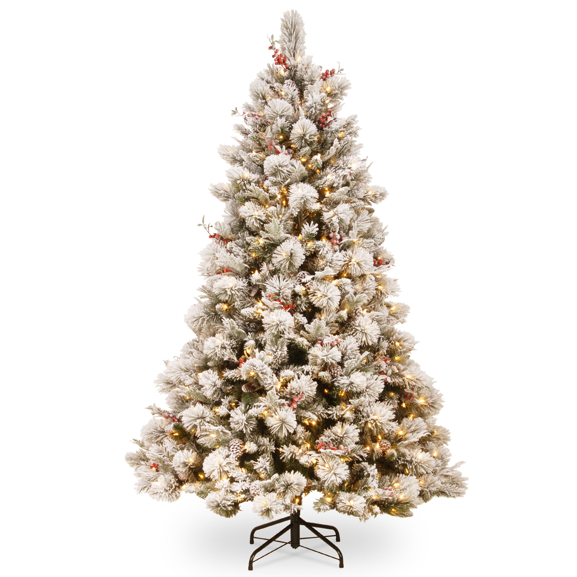 7.5 ft. Snowy Bedford Pine Tree with Clear Lights