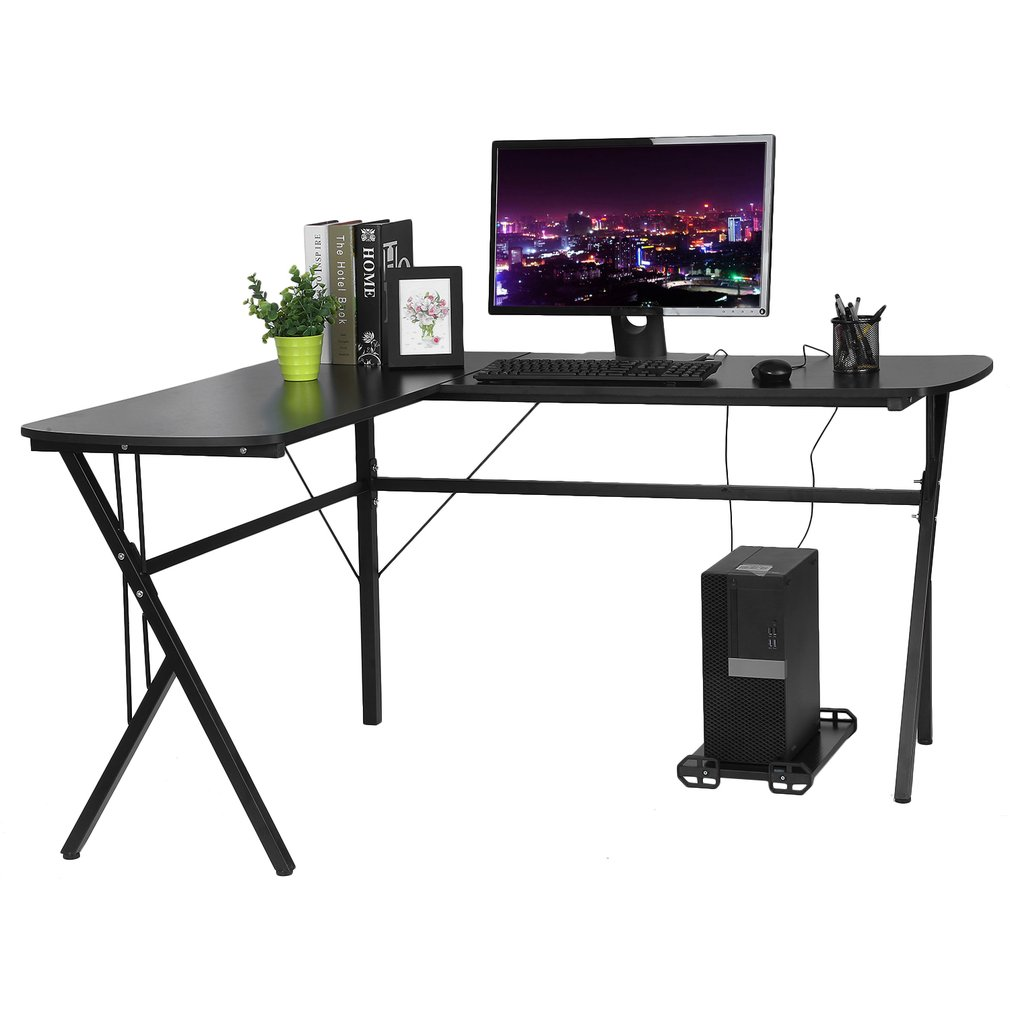 Large L Shaped Home Office Computer Desk Corner Table With Keyboard Tray