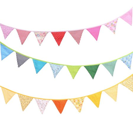 12 Pcs Fabric Bunting String Flags Banner Event Party Wedding Decoration - Fabric Bunting Banner