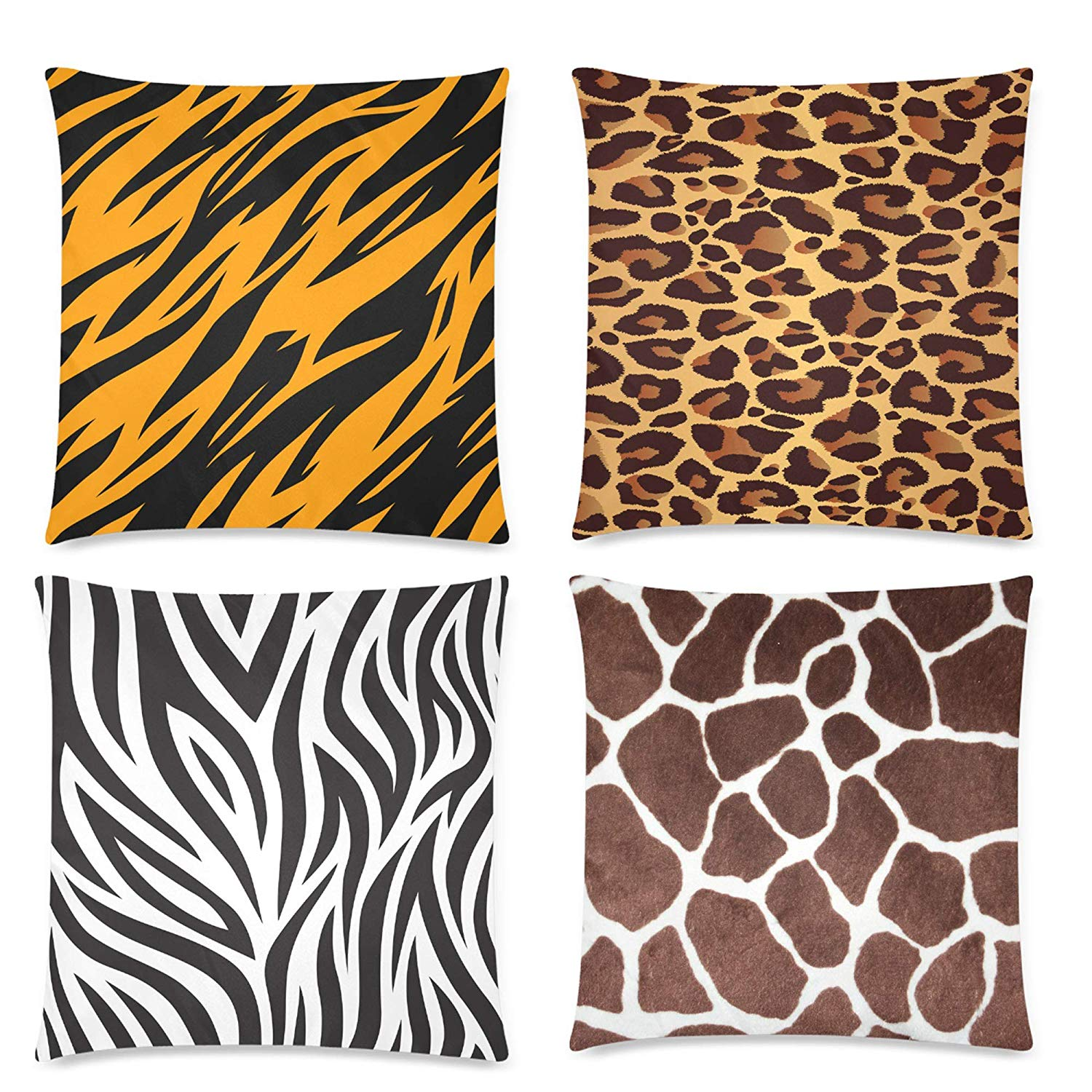 Gckg leopard giraffe tiger zebra skin throw pillow covers pillow cases animal print throw cushion cover18x18 inches4 pack