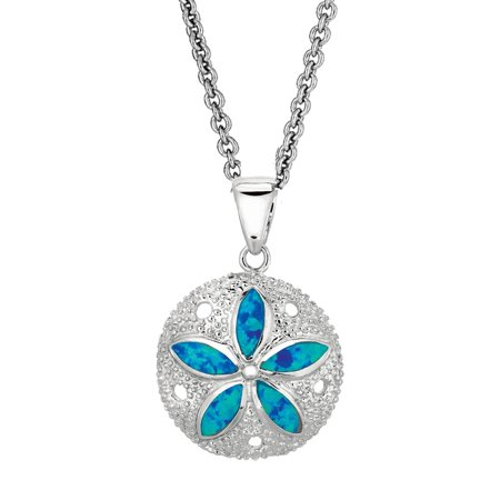 Sterling Silver Sand Dollar Sea Life Charm Necklace Lab Created Opal (18, 20  Inches )