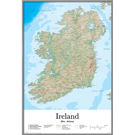 Map Of Ireland Print.Map Of Ireland Framed Poster Print Facts Information Eire