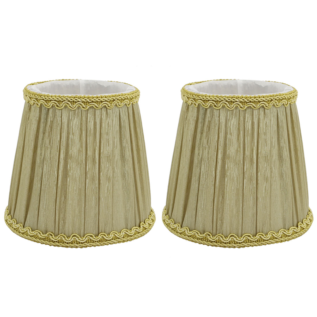 2pcs DropLight Shade Chandelier Clip-On Lampshade Yellow Green Fabric-Covered by