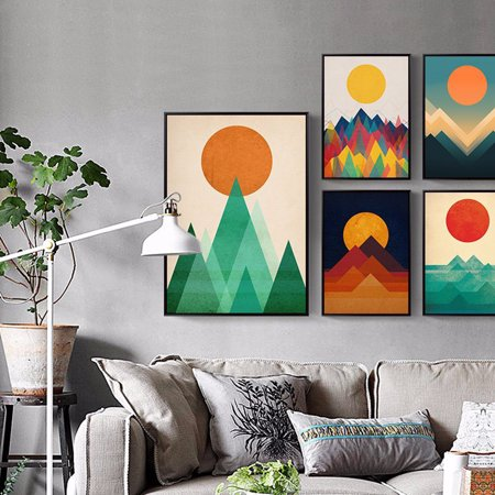 Girl12Queen Abstract Sunrise Sea Prints Picture Canvas Wall Art Painting  Bedroom Home Decor