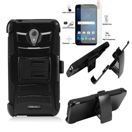 """Phone Case for Alcatel Raven A574BL / Alcatel Cameo-X CamoX / Alcatel Verso / AT&T PREPAID ideal-Xcite (5"""" screen display) Tempered Glass with Holster ( Holster Black Edge Case / Tempered Glass )"""