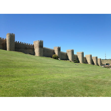 Canvas Print Grass Wall Castle Stone Wall Medieval Avila Walls Stretched Canvas 10 x 14