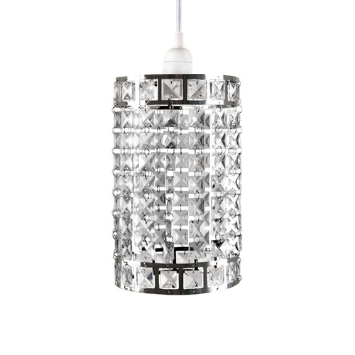 Tadpoles Faux-Crystal & Chrome Cylinder Shape Pendant Light Shade, Chandelier Style by Sleeping Partners