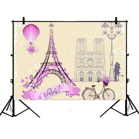 PHFZK 7x5ft Paris Symbols and Landmarks Backdrops, Franch Eiffel Tower City of Love Photography Backdrops Polyester Photo Background Studio Props](City Backdrops)