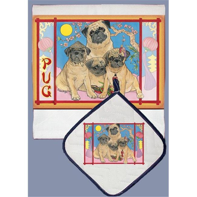 Pipsqueak Productions DP856 Pug Dish Towel And Pot Holder Set