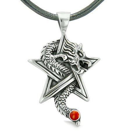 Courage Dragon Magical Protection Powers Star Pentacle Amulet Red Jasper Pendant Leather - Jasper Star