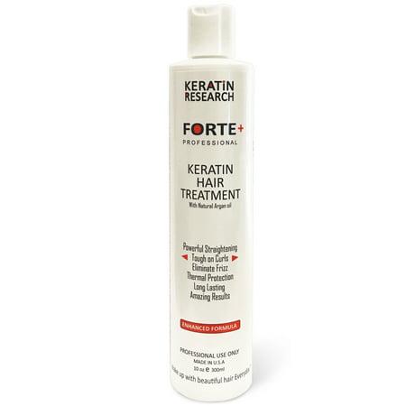 Keratin Research Forte Plus, Brazilian Keratin Blowout Hair Treatment Extra Strength 300ml Enhanced Formula for Curly Hair Made in (Brazilian Blowout Vs Keratin For Curly Hair)