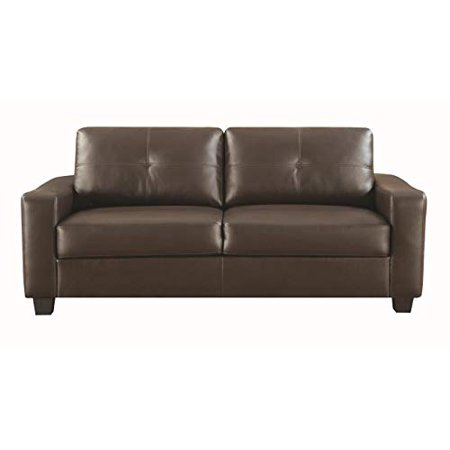 Brown Leather Sofa (Benzara BM69653 34.5 x 78 x 33.5 in. Premium Deluxe Leather Sofa - Dark Brown )