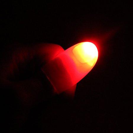 LeadingStar 1 Pair Creative Magic Thumb Tip LED Light Magic Trick Finger Lights for Dance Party Props - Red Light - Led Finger Light