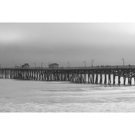 LAMINATED POSTER Pier Stormy Waves Waterfront Ocean Gray Quayside Poster Print 24 x 36](Waterfront Waves Halloween)