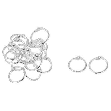 20mm x 2mm Keyrings Style Metal Loose Leaf Rings Silver Tone 20 Pcs (Loose Ring Gag)