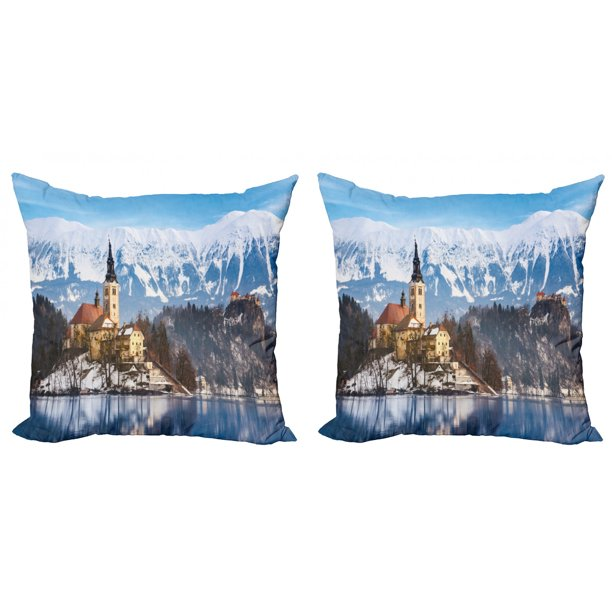 Winter Throw Pillow Cushion Cover Pack Of 2 Lake Bled In Slovenia Scenes From Europe Travel Destination Places Photo Zippered Double Side Digital Print 4 Sizes Multicolor By Ambesonne Walmart Com Walmart Com
