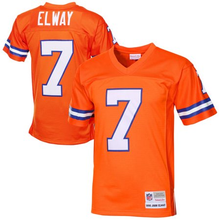 Mens Denver Broncos John Elway Mitchell & Ness Orange 1990 Retired Player Vintage Replica Jersey Mitchell & Ness Football Jersey