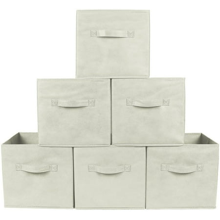 Greenco Foldable Storage Cubes Non-woven Fabric (6 Pack, Beige)