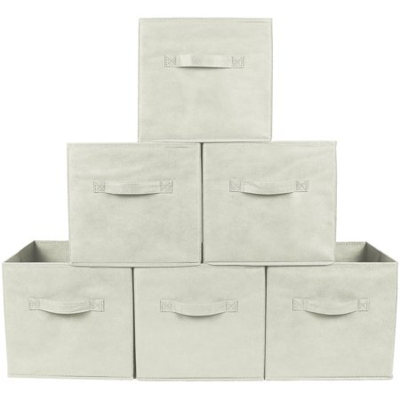 - Greenco Foldable Storage Cubes Non-woven Fabric (6 Pack, Beige)