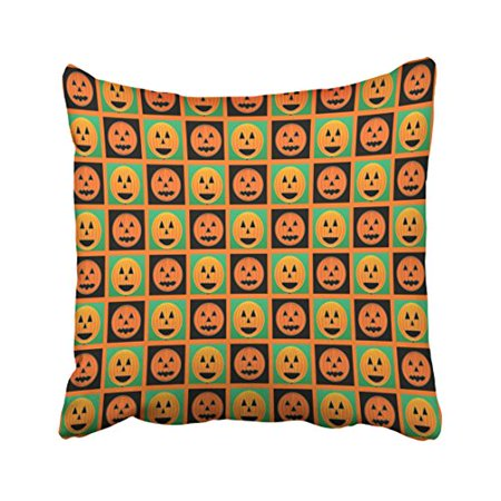 WinHome Decorative Pillowcases Halloween Pumpkin Faces Pattern Throw Pillow Covers Cases Cushion Cover Case Sofa 18x18 Inches Two Side - Halloween Pumpkin Faces Patterns