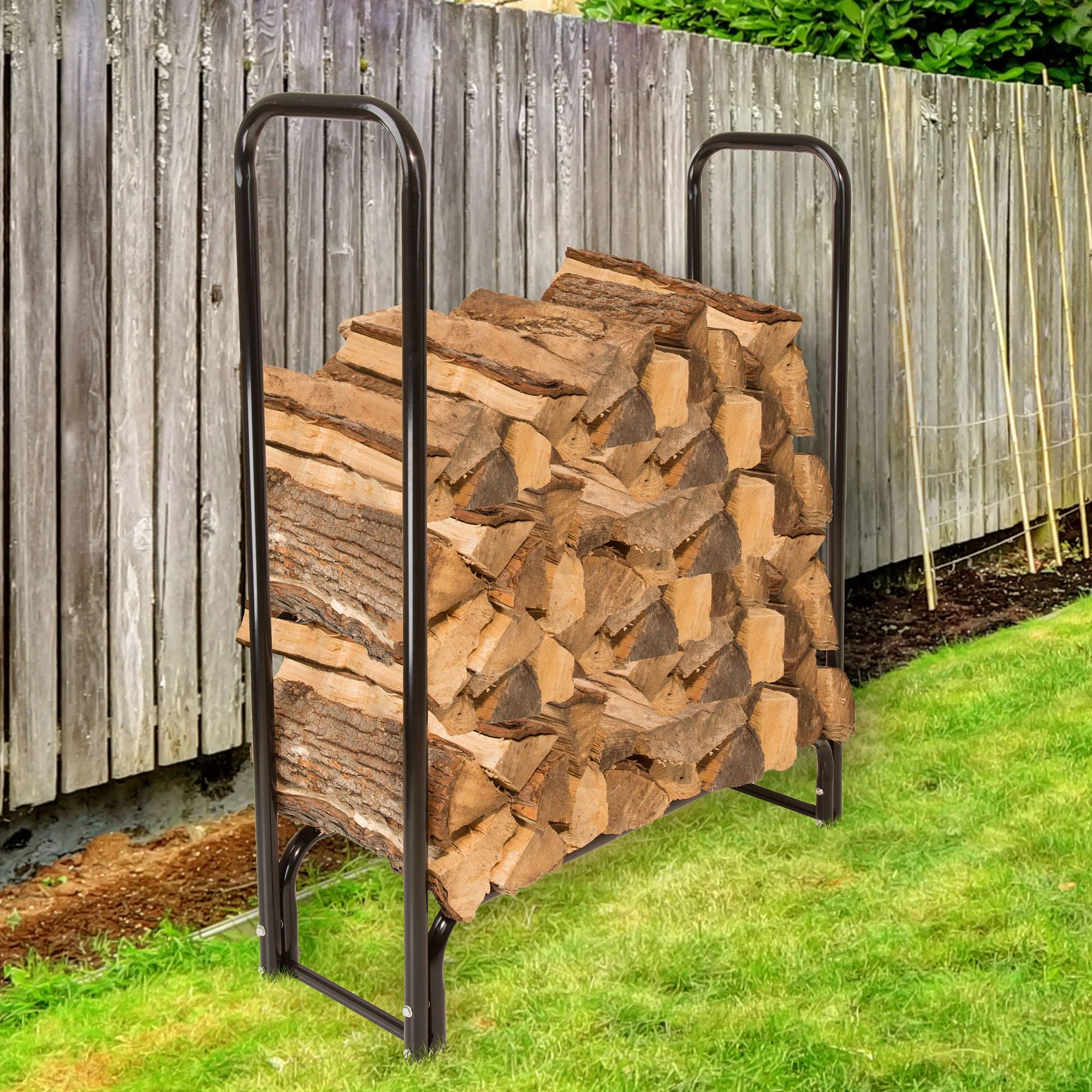 Pure Garden 4' Firewood Log Rack