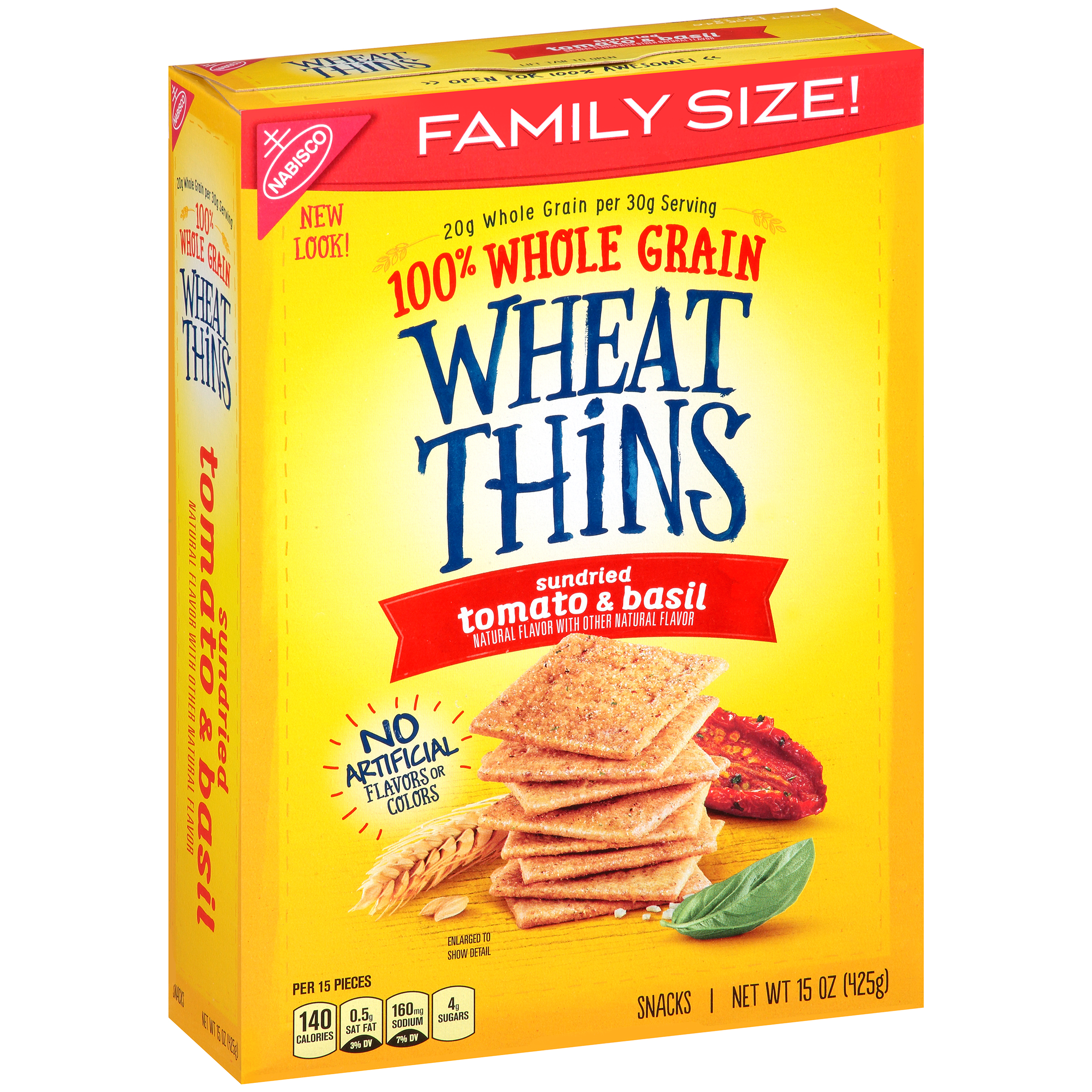 Nabisco Wheat Thins Sundried Tomato & Basil Snacks Family Size, 15 Oz.