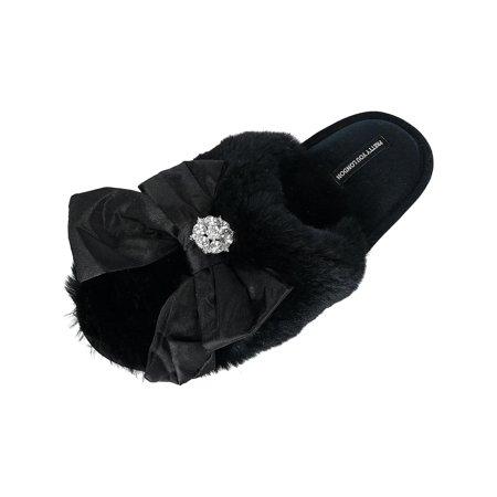 0e4116989 Pretty You London - Women's Alyssa Mule Slipper with Bow and Rhinestone -  Walmart.com