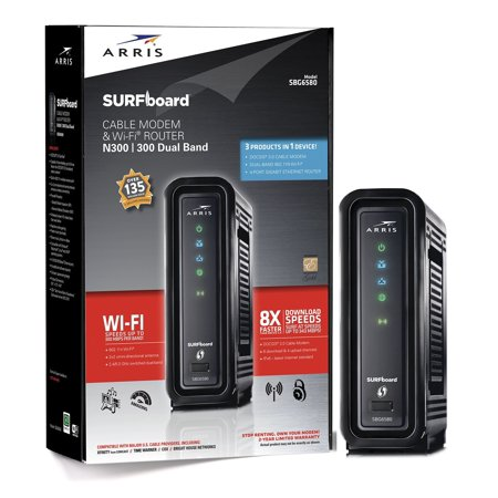 ARRIS SURFboard SBG6580 DOCSIS 3 0 Cable Modem/ N600 Wi-Fi Router