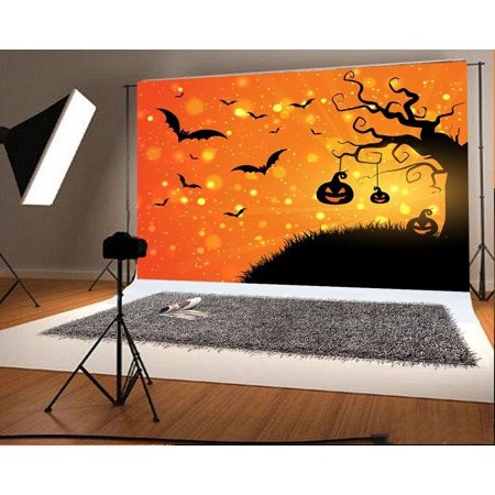 GreenDecor Polyster 7x5ft Halloween Photo Backgrounds Pumpkin Face Bat Photography Backdrops](Halloween Pumpkin Faces Photos)
