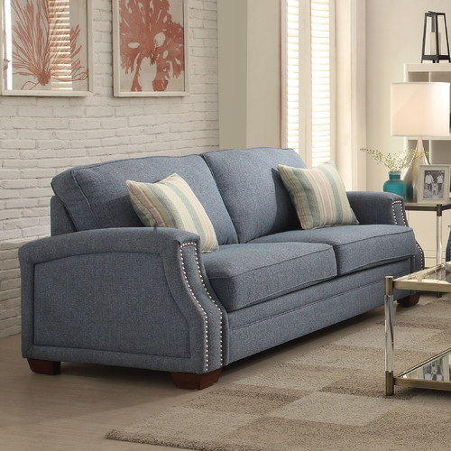 Exceptionnel ACME Betisa Nailhead Sofa With 2 Pillows, Light Blue Fabric