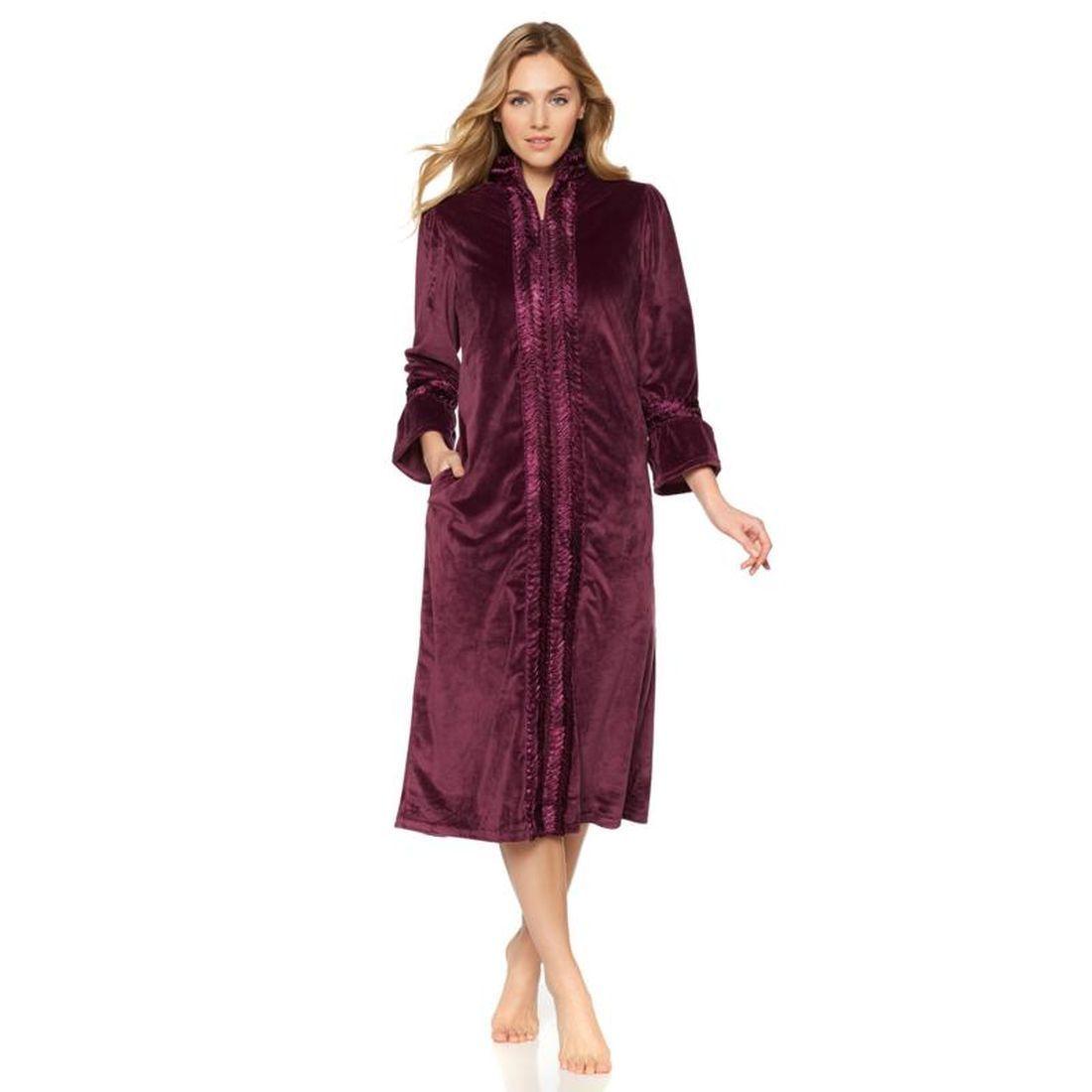 Highgate Manor Herringbone Trim Zip-Front Velvet Robe 501...