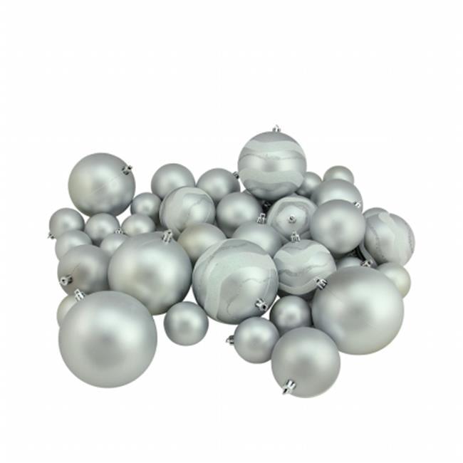 Northlight Seasonal 31756951 Silver Splendor Matte and Glitter Shatterproof Christmas Ball Ornaments