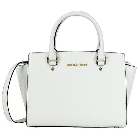 2d7c10ac161c Michael Kors - Selma Saffiano Leather Medium Satchel - Optic White -  Walmart.com