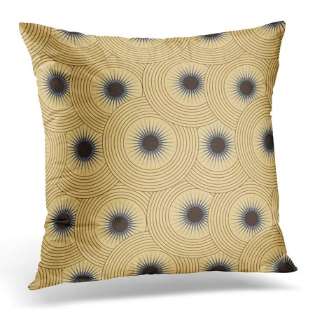 CMFUN Astral Blue Abstract Graphic Star with Circular Glow in Ivory Shades Brown Arcs Circles Pillow Case Cushion Cover 18x18 -