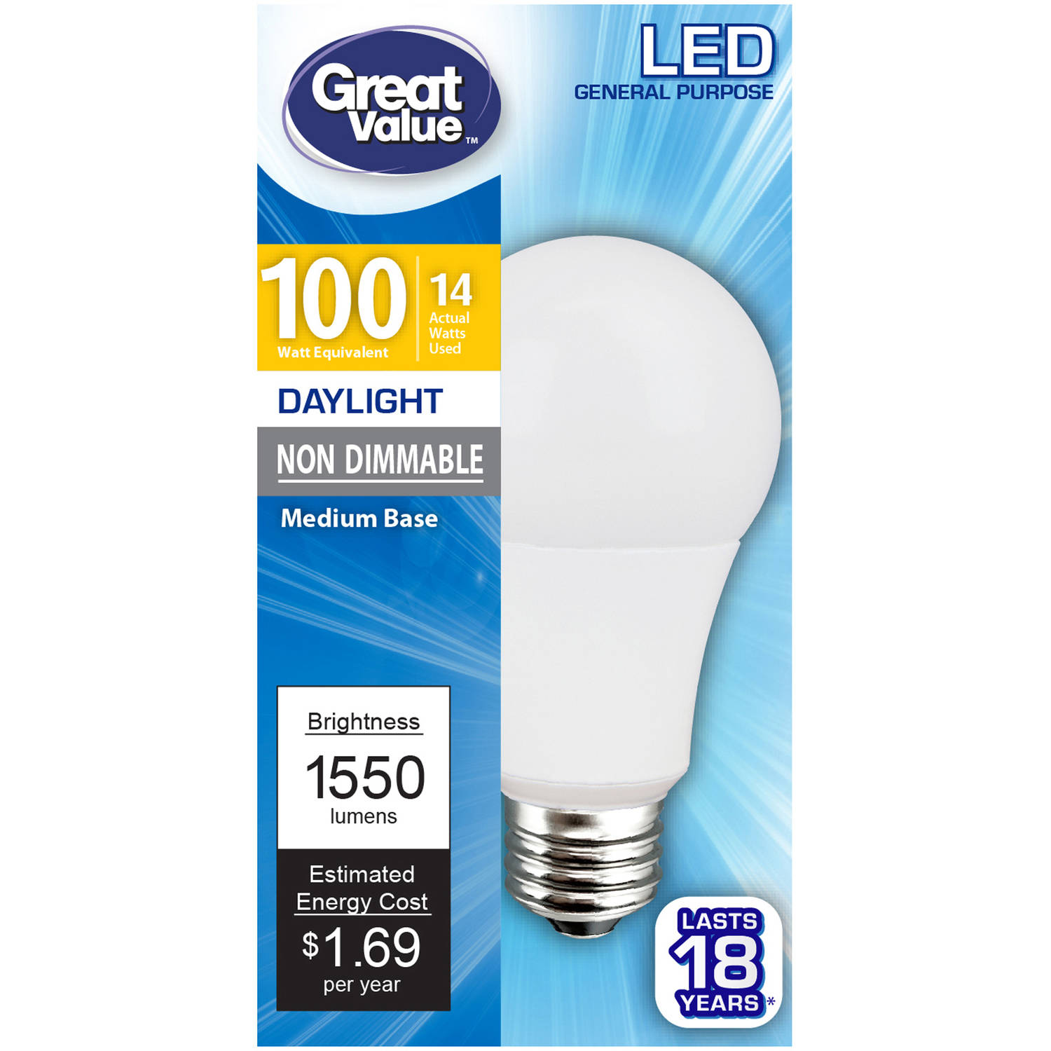 Great Value LED Light Bulb, 14W (100W Equivalent), Daylight