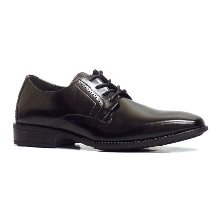 Leather Slip Oxfords - Stay Adams Ardell Black Leather Slip Resistant Oxford Dress Shoes