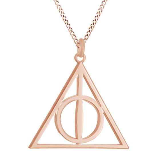 Harry Potter Deathly Hallow Symbol Pendant Necklace In 14k Gold Over